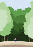 People walk in the forest. Vector illustration Stock Image