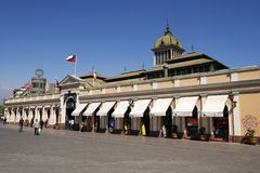 People walk in front of the Central market of Santiago city in Santiago, Chile. Royalty Free Stock Photography