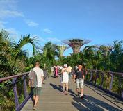 People walk at Gardens by the Bay in Singapore Stock Photo