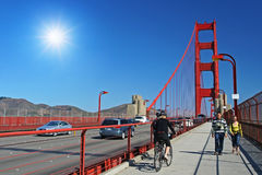 People walk on Golden gate footpath, San Francisco Stock Photo
