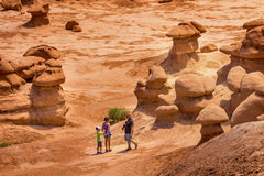 People Walk Hoodoos Goblin Valley State Park Utah Stock Images