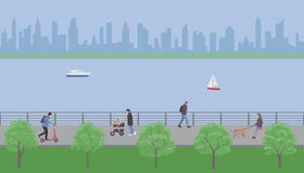 Free People Walk In The City Embankment Park. Vector Illustration. Royalty Free Stock Photography - 196888927