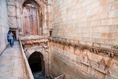 People walk inside the Queen's stepwell Royalty Free Stock Images