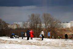 People walk in Kolomenskoye park in winter. Stock Image
