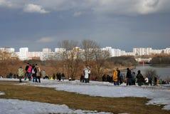 People walk in Kolomenskoye park in winter. Royalty Free Stock Photos