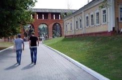 People walk in Kremlin in Kolomna, Russia. Royalty Free Stock Photography