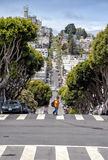 People walk on the Lombard street on Russian hill, San Francisco Stock Image