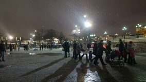 People walk on the Manezhnaya Square in Moscow near Moscow Kremlin. stock video