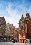 People walk on the market square in Wroclaw, Royalty Free Stock Images