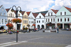 People walk, meet and enjoy their free time on Marian Square, a part ofhistoric centre of the city. Zilina, Slovakia - October 12, 2013: People walk, meet and royalty free stock photography
