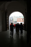 People walk in Moscow Kremlin. UNESCO World Heritage Site. Stock Photo