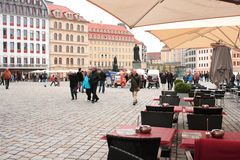 People walk on Neumarkt Square May 1, 2013 in Dresden, Germany. Royalty Free Stock Photos
