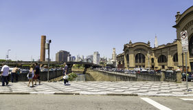 People walk next to Mercado Municipal in South America, Sao Paulo, Brazil Stock Photography