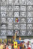 People next to Why wall art vertical. People walk next to the piece called Why by Carme Solé Vendrell in Palau Robert walls in Barcelona during the Catalonia royalty free stock photography