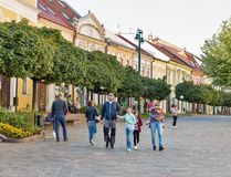 People walk in Old Town Presov, Slovakia. Royalty Free Stock Photography