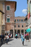 People walk in Old typical street in Ascoli Piceno Royalty Free Stock Photos