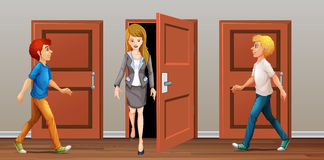 People walk in and out the doors vector illustration