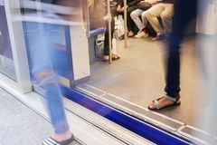 People walk out from subway train Royalty Free Stock Photo