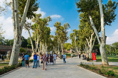 People walk in park in the Topkapi Palace on August 25, 2013 in Royalty Free Stock Photo