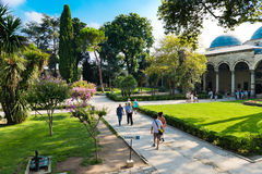 People walk in park in the Topkapi Palace on August 25, 2013 in Stock Photo