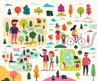 People on a walk in park. Young couple, women, mother with daughter, man vector illustration