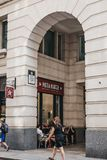People walk past Pret A Manger shop in City of London, London, UK. stock images