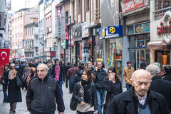 People walk on a pedestrian zone Stock Photo