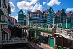 People walk on a pedestrian zone in Zaandam Stock Image