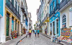 People walk in Pelourinho area, famous Historic Centre of Salvador, Bahia in Brazil Royalty Free Stock Image