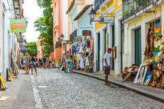 People walk in Pelourinho area, famous Historic Centre of Salvador, Bahia in Brazil Royalty Free Stock Images
