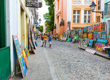People walk in Pelourinho area, famous Historic Centre of Salvador, Bahia in Brazil Royalty Free Stock Photography
