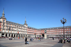 People walk at Plaza Mayor Royalty Free Stock Images