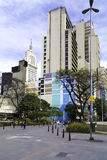 People walk through Plaza Sao Bento in Sao Paulo, Brazil Royalty Free Stock Images