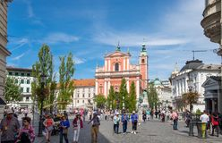 People walk on Preseren Square, the central square in Ljubljana, the capital of Slovenia stock photo