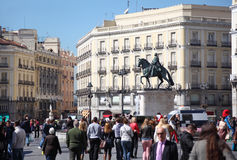 People walk at Puerta del Sol Stock Photo