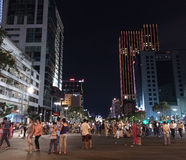 People walk in Saigon on Victory day Stock Image
