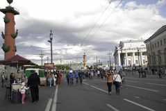 People walk. SAINT-PETERSBURG, RUSSIA - 12 JUNE, 2015: people walk on the arrow Vasilevsky Island on Independence Day in St. Petersburg, Russia, June, 2015 Stock Photo