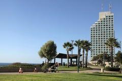 People walk on sea promenade of Netanya, Israel Royalty Free Stock Photography