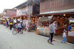 People walk and shopping in old town thai culture enjoy. Chiang Khan Market Loei town Thailand , December 30 - 2017 : People walk and shopping in old town thai royalty free stock photography