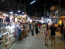 People walk and shopping in old town thai culture enjoy. Chiang Khan Market Loei town Thailand , December 30 - 2017 : People walk and shopping in old town thai stock images