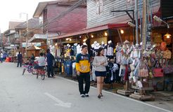 People walk and shopping in old town thai culture enjoy. Chiang Khan Market Loei town Thailand , December 30 - 2017 : People walk and shopping in old town thai stock photography
