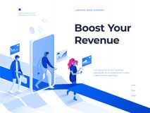 People walk with smartphones and get rewards going through a mobile application screen. 3d isometric illustration. Landing page. People walk with smartphones royalty free illustration