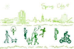 People walk on a spring city Stock Image
