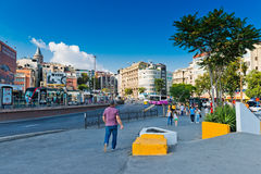 People walk daily by street in downtown of Istanbul on August 2 Royalty Free Stock Image