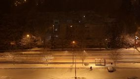 People walk on street at night stock footage