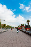 People walk daily by street in port Vell (Barcelona) on Septemb Royalty Free Stock Photos