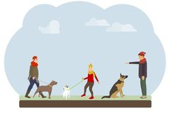 People walk their dogs in the park. People train and walk their dogs against the sky. stock illustration