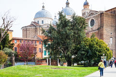 People walk to Basilica of Santa Giustina Stock Photography