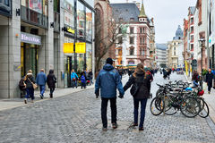 People walk to Christmas market in Leipzig Royalty Free Stock Images