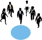 People walk to join paths at center circle. Group of business people walk paths toward a connection copyspace circle Stock Images